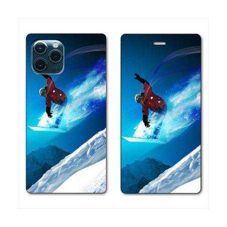 "RV Housse cuir portefeuille Iphone 11 Pro Max (6,5"") Snowboard saut"