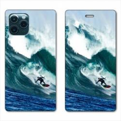 "RV Housse cuir portefeuille Iphone 11 Pro Max (6,5"") Surf vague"