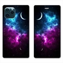 """RV Housse cuir portefeuille Iphone 11 Pro Max (6,5"""") Univers Bleu violet"""