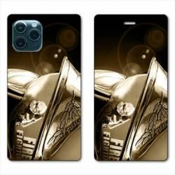 """RV Housse cuir portefeuille Iphone 11 Pro Max (6,5"""") pompier casque vintage"""