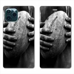 "RV Housse cuir portefeuille Iphone 11 Pro Max (6,5"") Rugby ballon vintage"