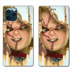 "RV Housse cuir portefeuille Iphone 11 Pro Max (6,5"") Chucky Blanc"