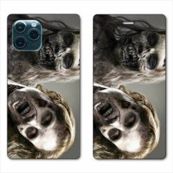 "RV Housse cuir portefeuille Iphone 11 Pro Max (6,5"") Zombie blanc"