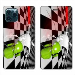 """RV Housse cuir portefeuille Iphone 11 Pro Max (6,5"""") Damier"""