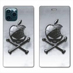 "RV Housse cuir portefeuille Iphone 11 Pro Max (6,5"") Pomme Tete mort"
