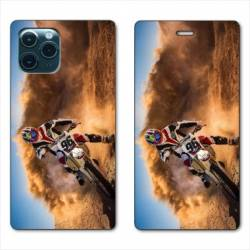 "RV Housse cuir portefeuille Iphone 11 Pro Max (6,5"") Moto Cross Blanc"