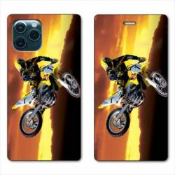 "RV Housse cuir portefeuille Iphone 11 Pro Max (6,5"") Moto Cross Noir"