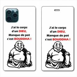 "RV Housse cuir portefeuille Iphone 11 Pro Max (6,5"") Humour Bouddha"
