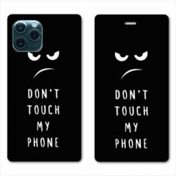 "RV Housse cuir portefeuille Iphone 11 Pro Max (6,5"") Humour don't touch"