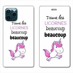 """RV Housse cuir portefeuille Iphone 11 Pro Max (6,5"""") Decale licornes"""