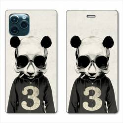"RV Housse cuir portefeuille Iphone 11 Pro Max (6,5"") Decale Panda"