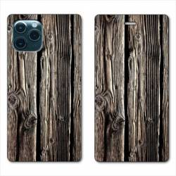 "RV Housse cuir portefeuille Iphone 11 Pro Max (6,5"") Texture bois"