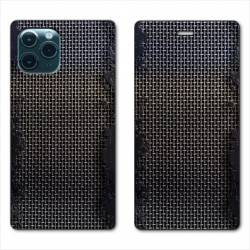 "RV Housse cuir portefeuille Iphone 11 Pro Max (6,5"") Texture metal"