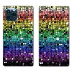"RV Housse cuir portefeuille Iphone 11 Pro Max (6,5"") Texture mosaique"