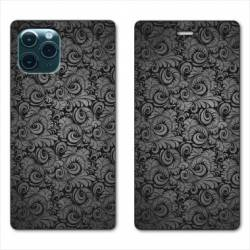 "RV Housse cuir portefeuille Iphone 11 Pro Max (6,5"") Texture velours"
