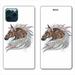 "RV Housse cuir portefeuille Iphone 11 Pro Max (6,5"") Ethniques Cheval Color B"