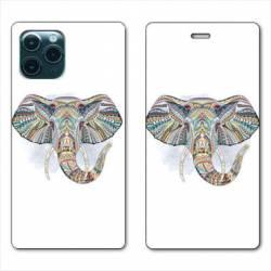 "RV Housse cuir portefeuille Iphone 11 Pro Max (6,5"") Ethniques Elephant Color B"
