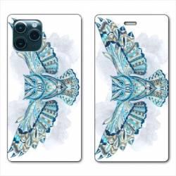 "RV Housse cuir portefeuille Iphone 11 Pro Max (6,5"") Ethniques Hibou B"