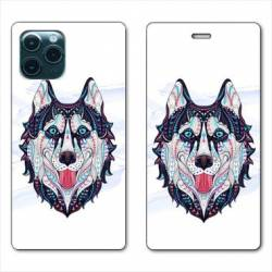 "RV Housse cuir portefeuille Iphone 11 Pro Max (6,5"") Ethniques Husky Color"