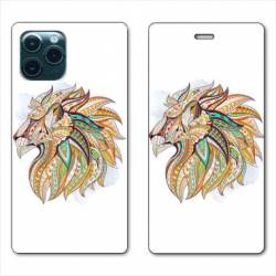 """RV Housse cuir portefeuille Iphone 11 Pro Max (6,5"""") Ethniques Lion"""
