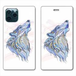 "RV Housse cuir portefeuille Iphone 11 Pro Max (6,5"") Ethniques Loup Color"