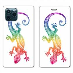 "RV Housse cuir portefeuille Iphone 11 Pro Max (6,5"") Animaux Maori Salamandre color"