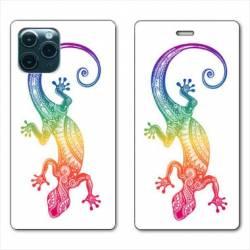 "RV Housse cuir portefeuille Iphone 11 Pro Max (6,5"") Animaux Maori Salamandre color"