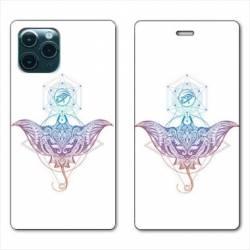 "RV Housse cuir portefeuille Iphone 11 Pro Max (6,5"") Animaux Maori Raie color"