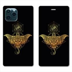 "RV Housse cuir portefeuille Iphone 11 Pro Max (6,5"") Animaux Maori Raie noir"