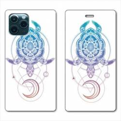 "RV Housse cuir portefeuille Iphone 11 Pro Max (6,5"") Animaux Maori tortue color"
