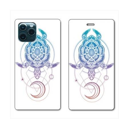 """RV Housse cuir portefeuille Iphone 11 Pro Max (6,5"""") Animaux Maori tortue color"""