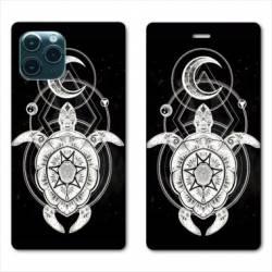 "RV Housse cuir portefeuille Iphone 11 Pro Max (6,5"") Animaux Maori Tortue noir"