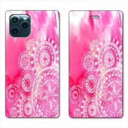 """RV Housse cuir portefeuille Iphone 11 Pro Max (6,5"""") Etnic abstrait Bouclier rose"""