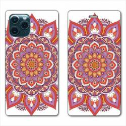 "RV Housse cuir portefeuille Iphone 11 Pro Max (6,5"") Etnic abstrait Rosas orange"