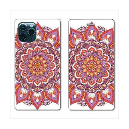 """RV Housse cuir portefeuille Iphone 11 Pro Max (6,5"""") Etnic abstrait Rosas orange"""