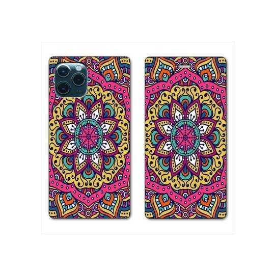 "RV Housse cuir portefeuille Iphone 11 Pro Max (6,5"") Etnic abstrait Rosas rose"