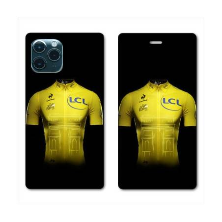 """RV Housse cuir portefeuille Iphone 11 Pro Max (6,5"""") Cyclisme Maillot jaune"""