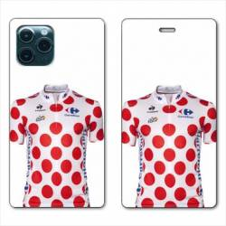 "RV Housse cuir portefeuille Iphone 11 Pro Max (6,5"") Cyclisme Maillot pois"