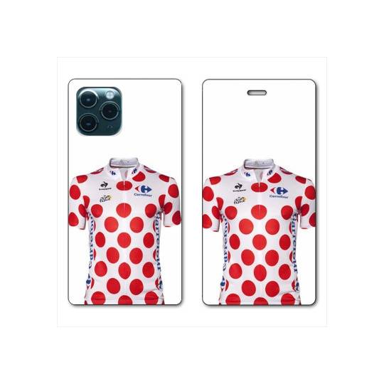 """RV Housse cuir portefeuille Iphone 11 Pro Max (6,5"""") Cyclisme Maillot pois"""