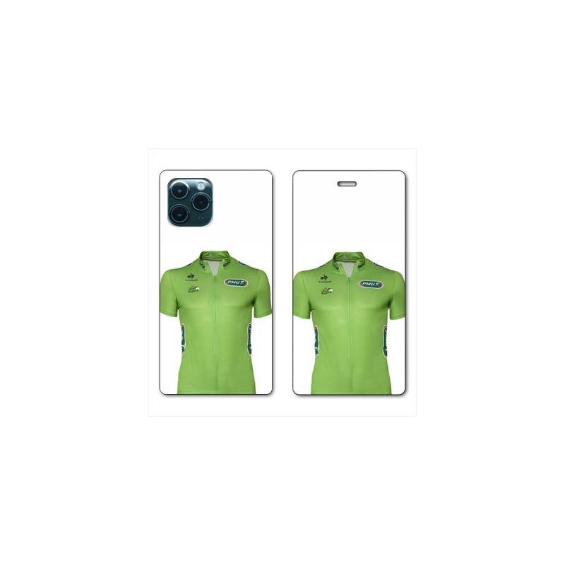 """RV Housse cuir portefeuille Iphone 11 Pro Max (6,5"""") Cyclisme Maillot vert"""