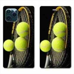"RV Housse cuir portefeuille Iphone 11 Pro Max (6,5"") Tennis Balls"