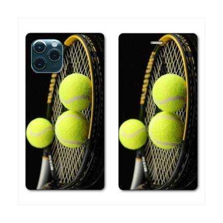 "RV Housse cuir portefeuille Iphone 11 Pro Max (6,5"") Tennis Balls"