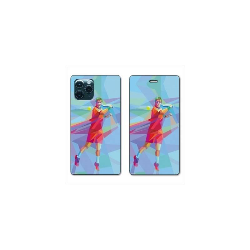 "RV Housse cuir portefeuille Iphone 11 Pro Max (6,5"") Tennis Revers Bleu"