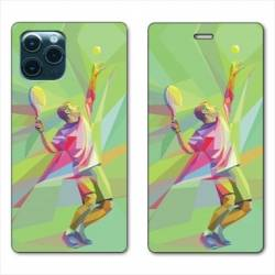 """RV Housse cuir portefeuille Iphone 11 Pro Max (6,5"""") Tennis Service"""