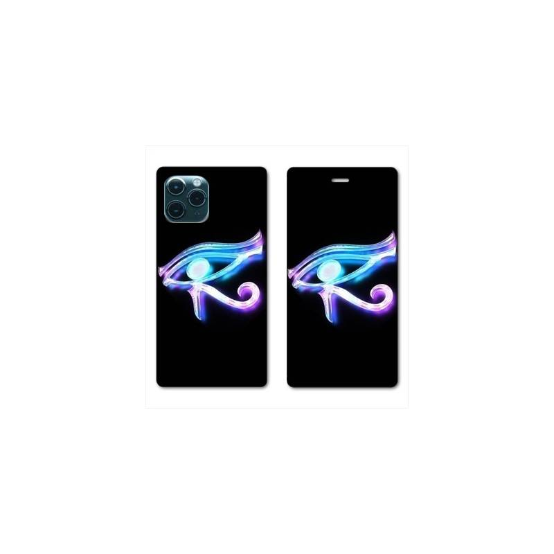 "RV Housse cuir portefeuille Iphone 11 Pro Max (6,5"") Egypte Œil Orus"