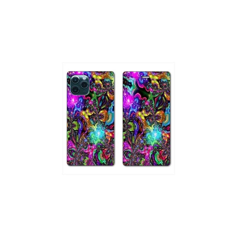 """RV Housse cuir portefeuille Iphone 11 Pro Max (6,5"""") Psychedelic colore"""