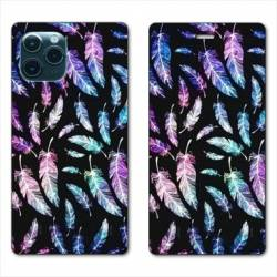 "RV Housse cuir portefeuille Iphone 11 Pro Max (6,5"") Psychedelic Plume"