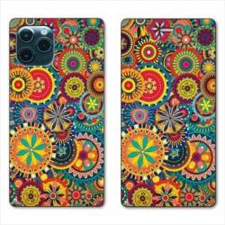 "RV Housse cuir portefeuille Iphone 11 Pro Max (6,5"") Psychedelic Roue"
