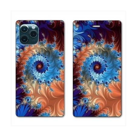 """RV Housse cuir portefeuille Iphone 11 Pro Max (6,5"""") Psychedelic Spirale"""