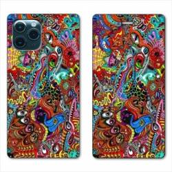 "RV Housse cuir portefeuille Iphone 11 Pro Max (6,5"") Psychedelic Yeux"